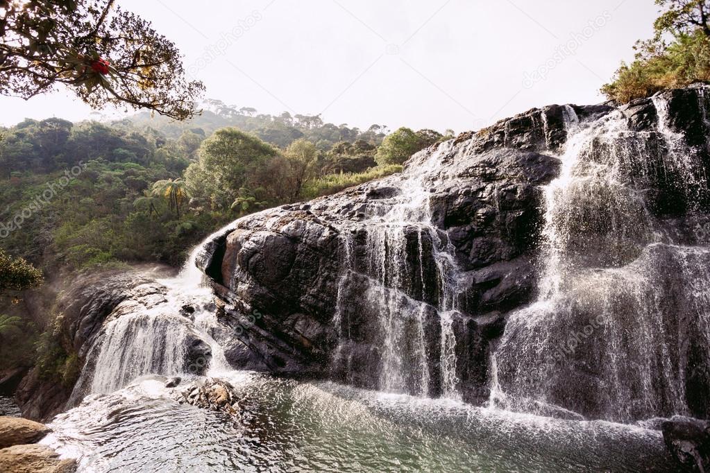 Baker's Falls in Horton Plains National Park, Sri Lanka.