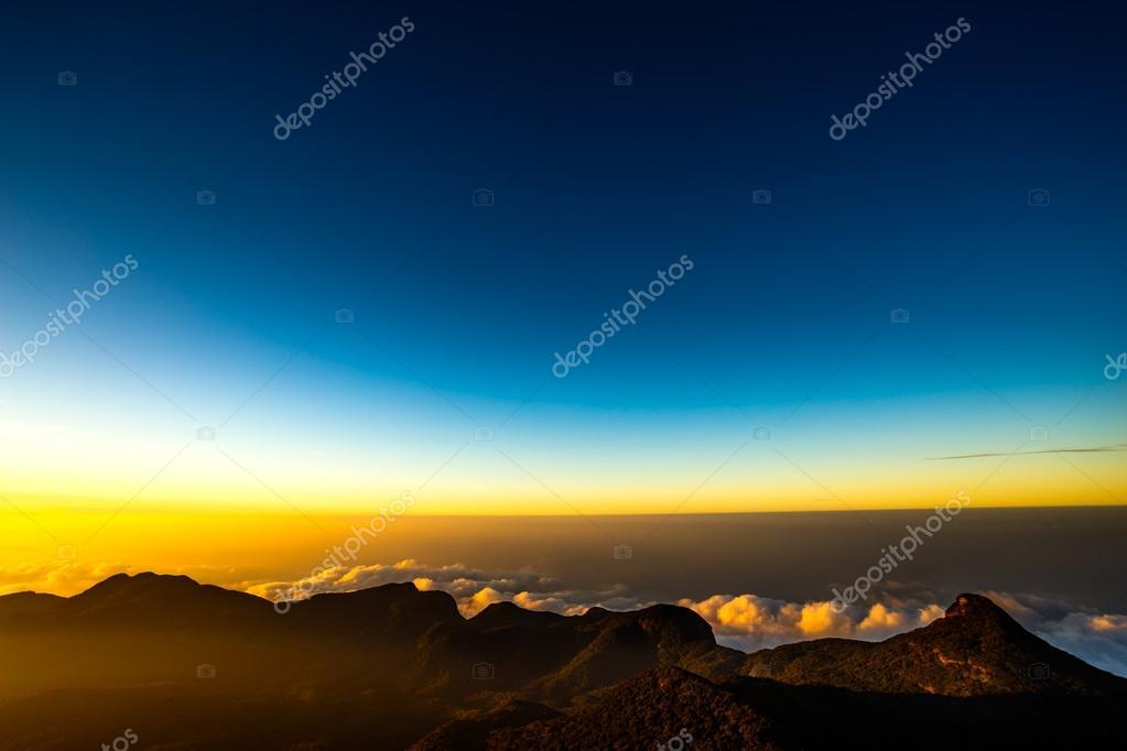 Sunrise on the mountain Adam's Peak. Sri Lanka.