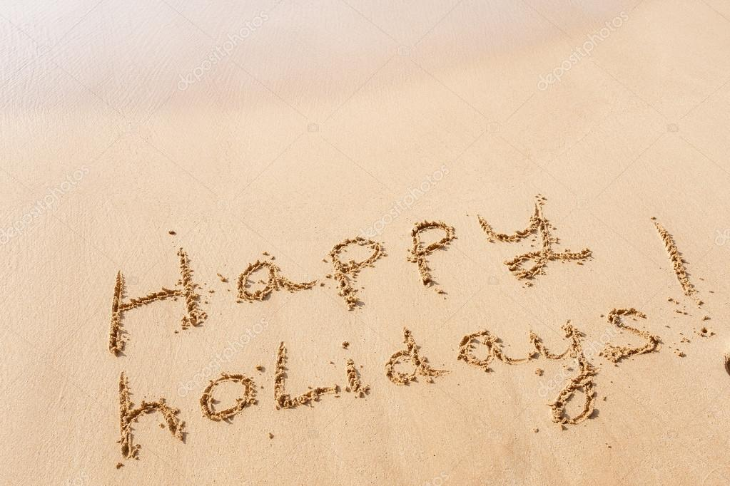 happy holidays on beach