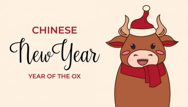 Cute Christmas card with cow or bull. Ox is symbol of the year 2021 according to the Chinese calendar. Ready-to-print greeting card with handwritten greeting merry Christmas and happy new year .. icon