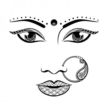 Hand drawn face of an Indian woman in zentangle style. Sketch ve