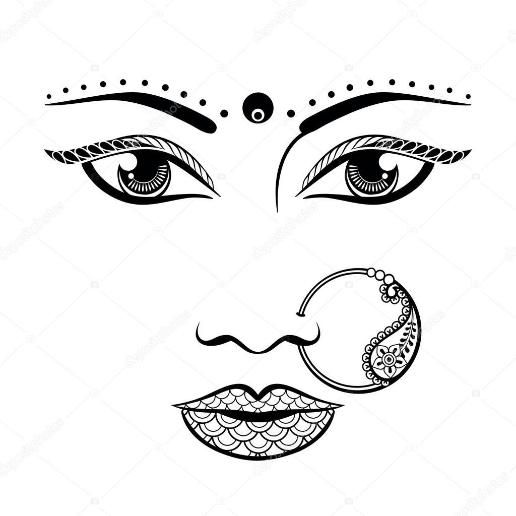 Mano dibuja una cara de una mujer India de estilo zentangle. Dibujo ...