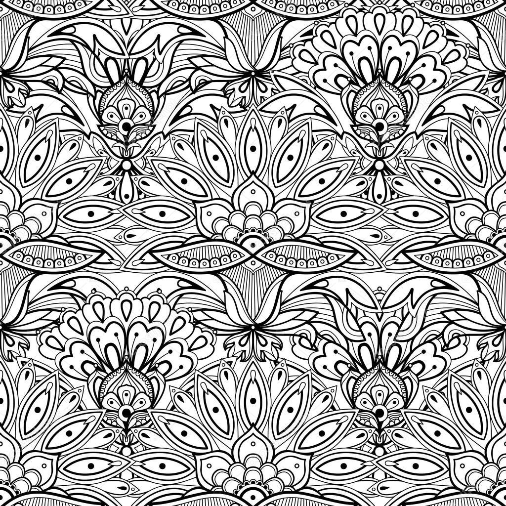 Mano dibujada de patrones sin fisuras de flores abstractas. Dibujo ...