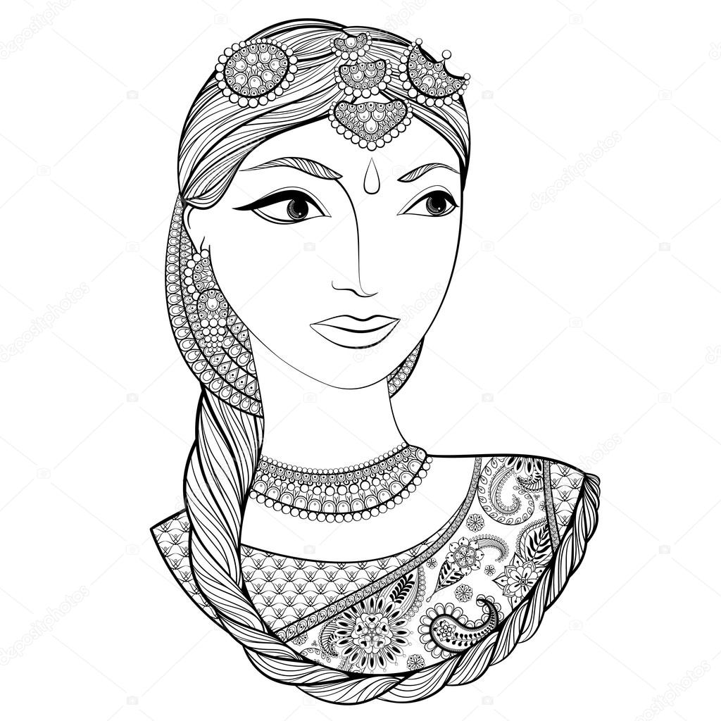 Main A Attiré Belle Femme Indienne En Zentangle Style
