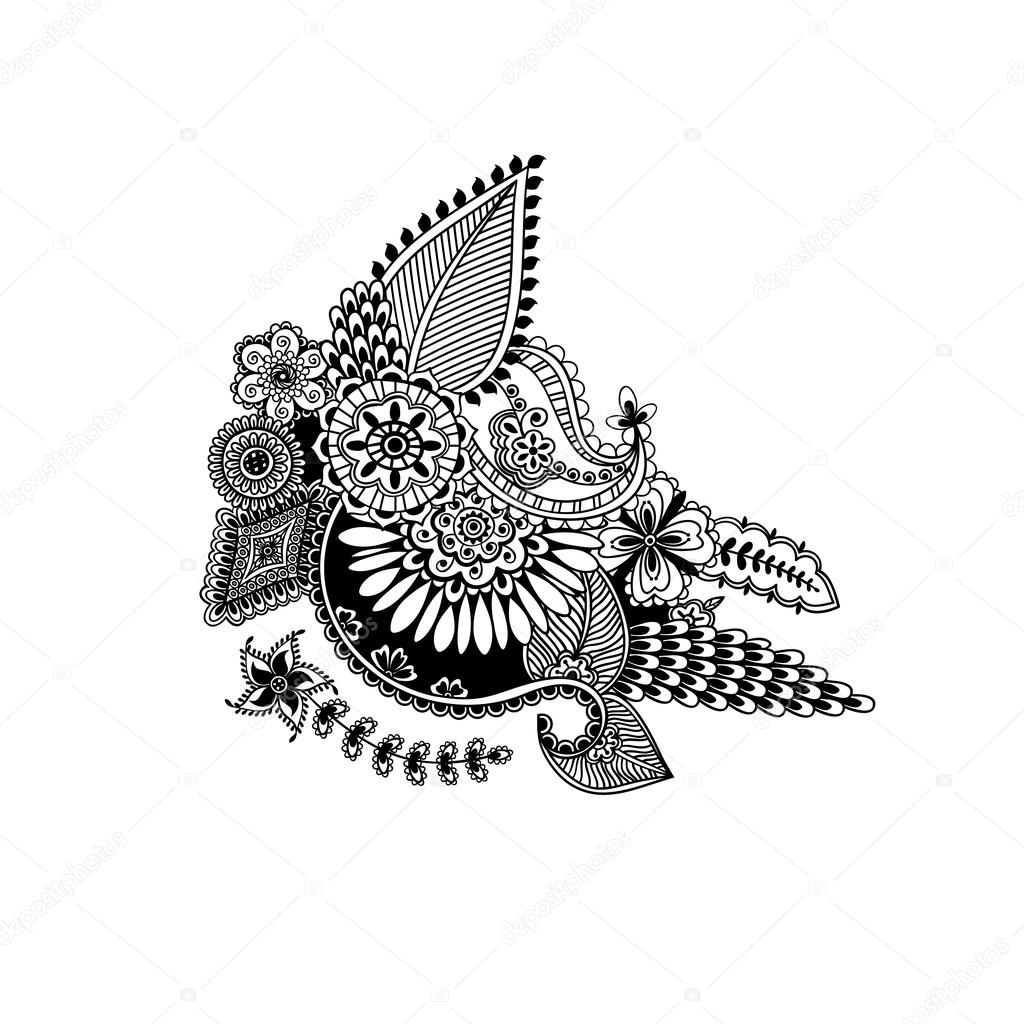 Hand Drawn Henna Flowers Indian Pattern In Zentangle Style Eth