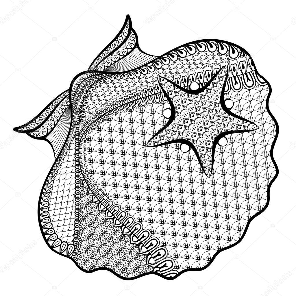 Deniz Yıldızı Zentangle Içinde Stilize Ile Sanatsal Deniz Cehennem