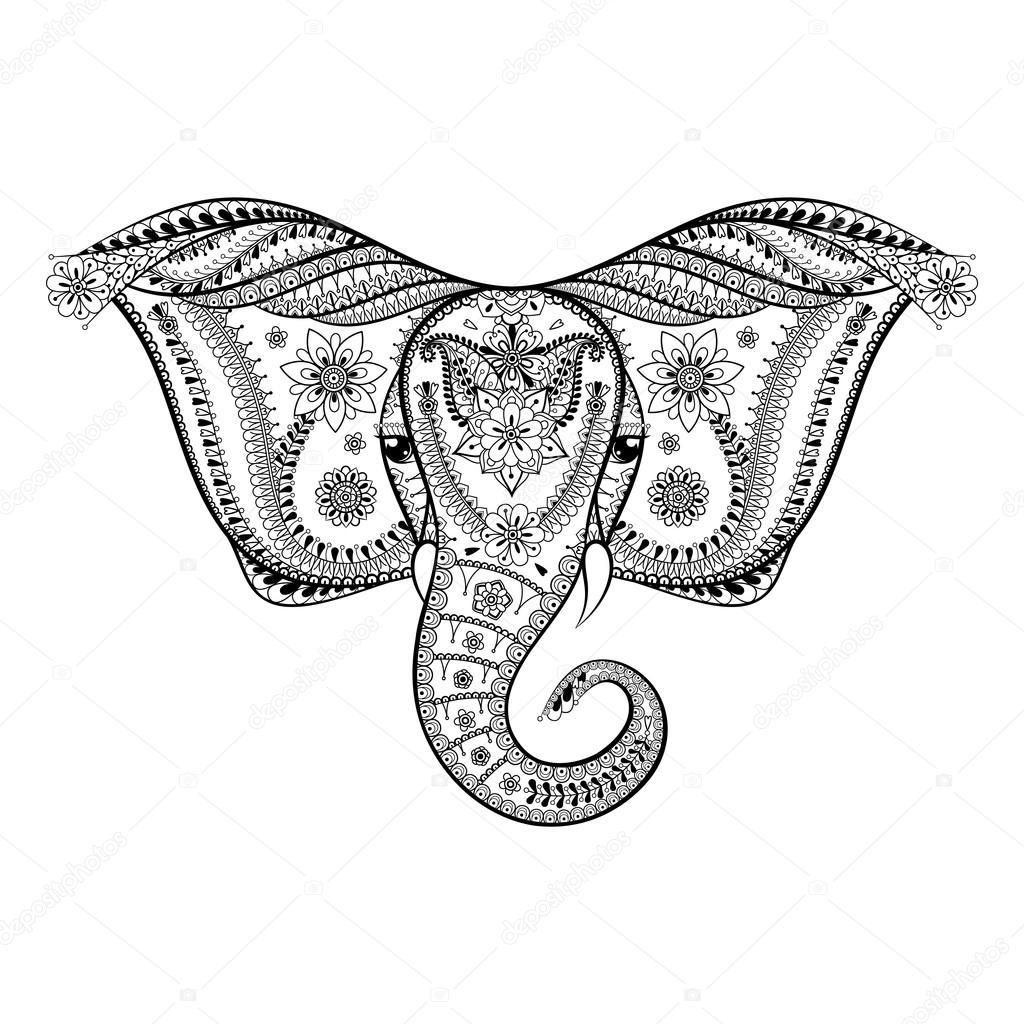 Zentangle stylized Indian Elephant head. Hand Drawn patterned ve ...