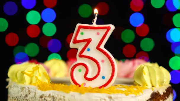 Number 3 Happy Birthday Cake Witg Burning Candles Topper.