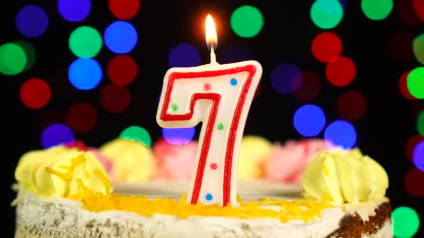 Number 7 Happy Birthday Cake Witg Burning Candles Topper.