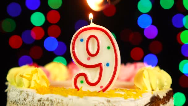 Number 9 Happy Birthday Cake Witg Burning Candles Topper.