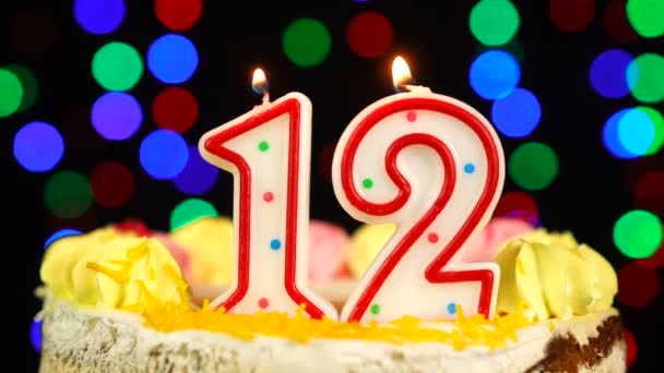 Number 12 Happy Birthday Cake Witg Burning Candles Topper.