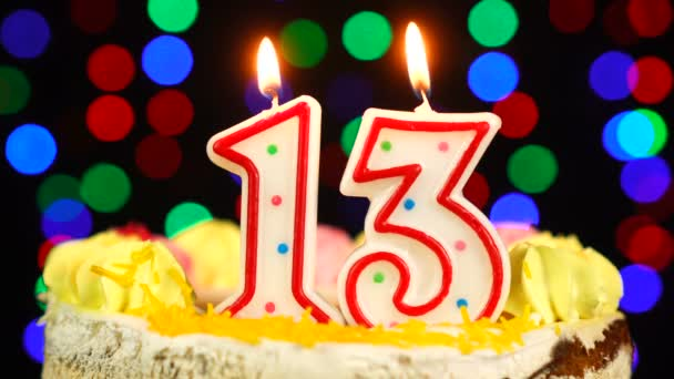 Number 13 Happy Birthday Cake Witg Burning Candles Topper.