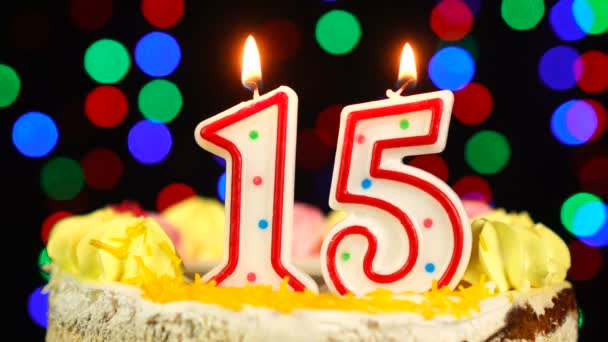 Number 15 Happy Birthday Cake Witg Burning Candles Topper.