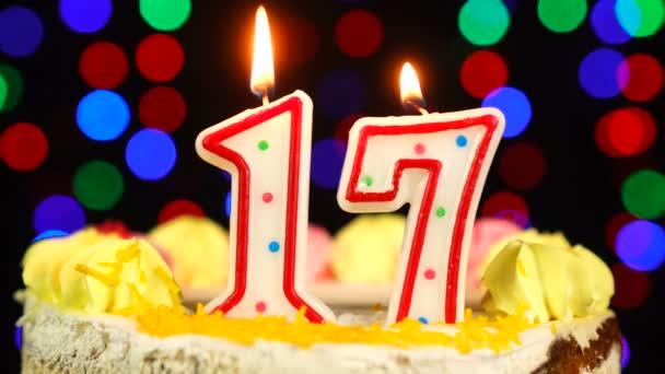 17-es szám Boldog születésnapot torta Witg Burning Candles Topper.