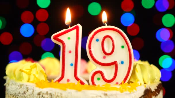 Number 19 Happy Birthday Cake Witg Burning Candles Topper.