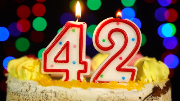 Number 42 Happy Birthday Cake Witg Burning Candles Topper.