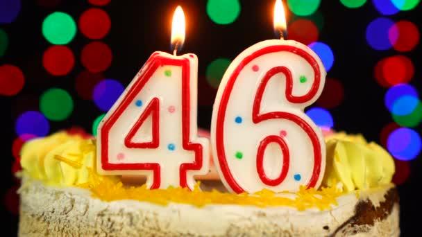 46-os szám Boldog születésnapot torta Witg Burning Candles Topper.