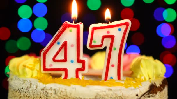 Number 47 Happy Birthday Cake Witg Burning Candles Topper.