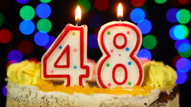 Number 48 Happy Birthday Cake Witg Burning Candles Topper.