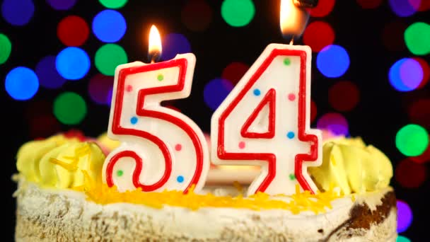 Number 54 Happy Birthday Cake Witg Burning Candles Topper.