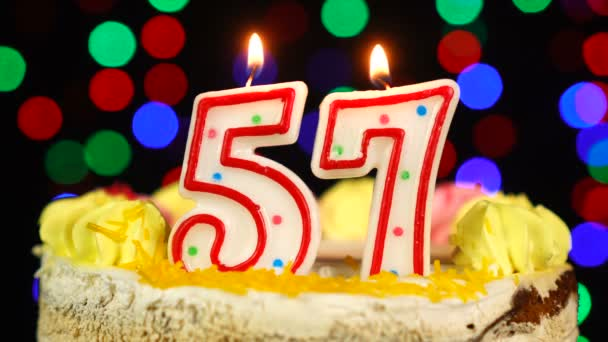 Number 57 Happy Birthday Cake Witg Burning Candles Topper.