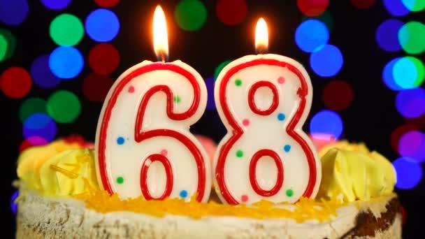 68-as szám Boldog születésnapot torta Witg Burning Candles Topper.