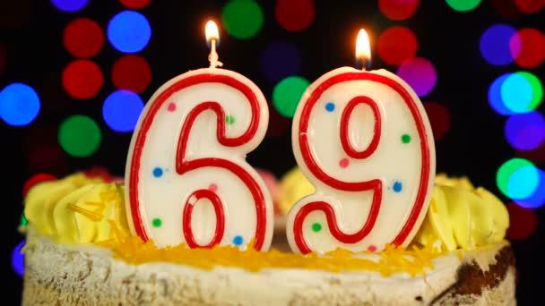 Szám 69 Boldog Születésnapot torta Witg Burning Candles Topper.
