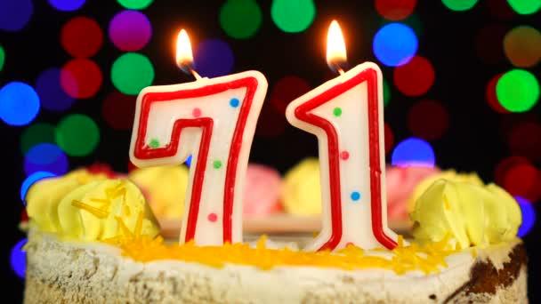 71-es szám Boldog születésnapot torta Witg Burning Candles Topper.