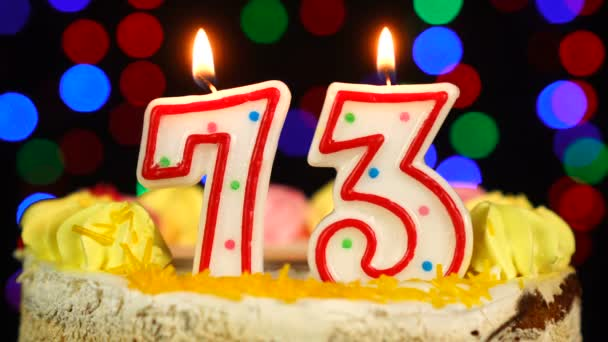 Number 73 Happy Birthday Cake Witg Burning Candles Topper.