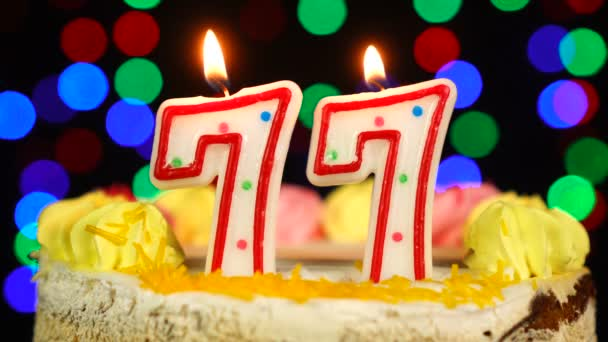 Number 77 Happy Birthday Cake Witg Burning Candles Topper.