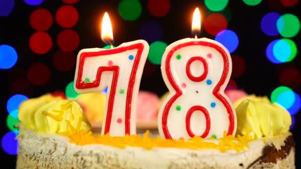 Száma 78 Boldog Születésnapot torta Witg Burning Candles Topper.