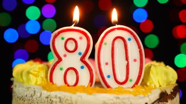Száma 80 Boldog Születésnapot torta Witg Burning Candles Topper.