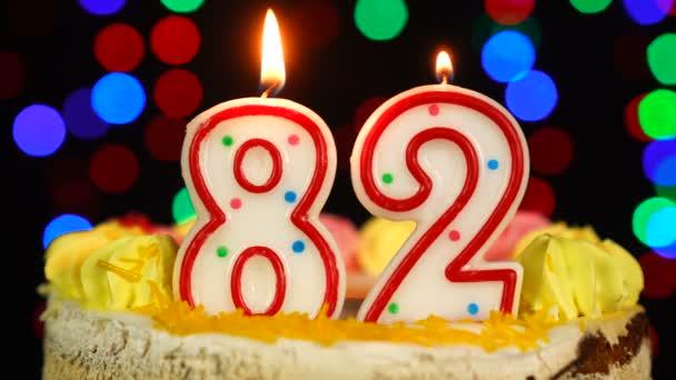 Szám 82 Boldog Születésnapot torta Witg Burning Candles Topper.