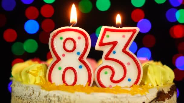 Száma 83 Boldog Születésnapot torta Witg égő gyertyák Topper.
