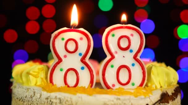 Szám 88 Boldog Születésnapot torta Witg Burning Candles Topper.