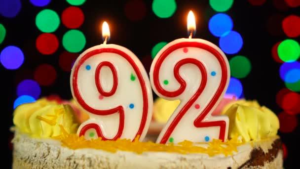 Szám 92 Boldog születésnapot torta Witg égő gyertyák Topper.
