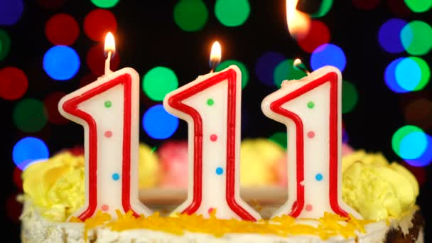 Number 111 Happy Birthday Cake With Burning Candles Topper.