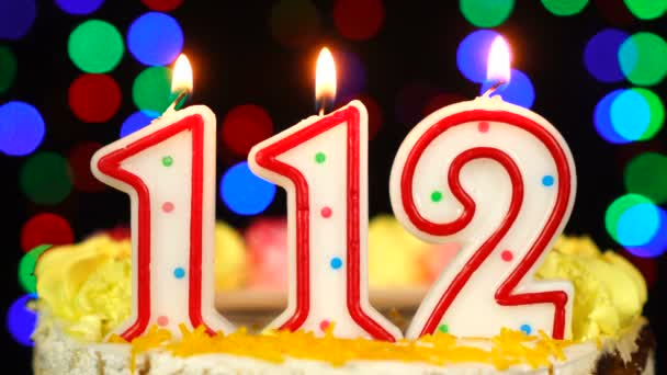 Number 112 Happy Birthday Cake With Burning Candles Topper.