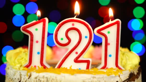Number 121 Happy Birthday Cake With Burning Candles Topper.