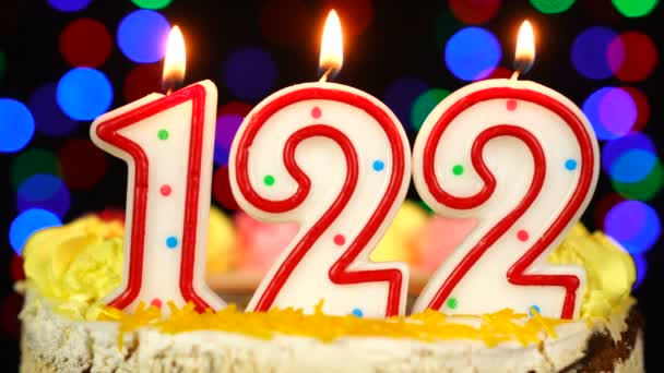 Number 122 Happy Birthday Cake With Burning Candles Topper.