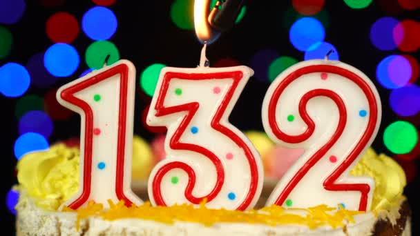 Number 132 Happy Birthday Cake With Burning Candles Topper.
