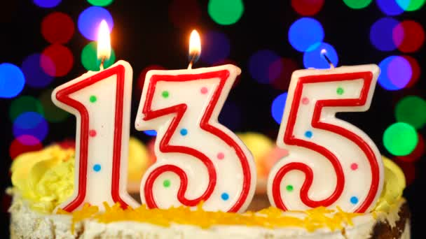 Number 135 Happy Birthday Cake With Burning Candles Topper.