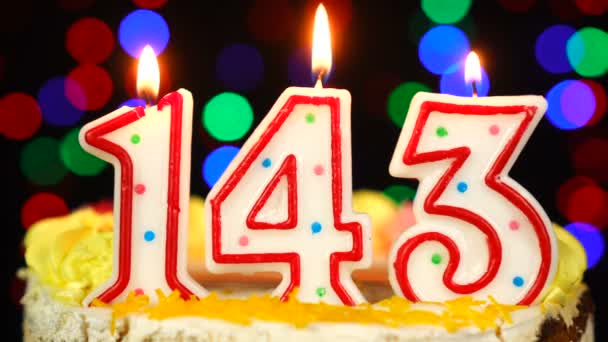 Number 143 Happy Birthday Cake With Burning Candles Topper.