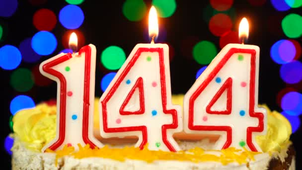 Number 144 Happy Birthday Cake With Burning Candles Topper.