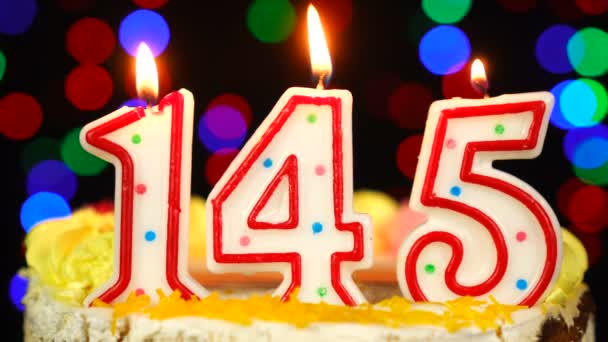 Number 145 Happy Birthday Cake With Burning Candles Topper.