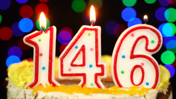 Number 146 Happy Birthday Cake With Burning Candles Topper.