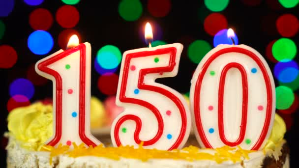 Number 150 Happy Birthday Cake With Burning Candles Topper.