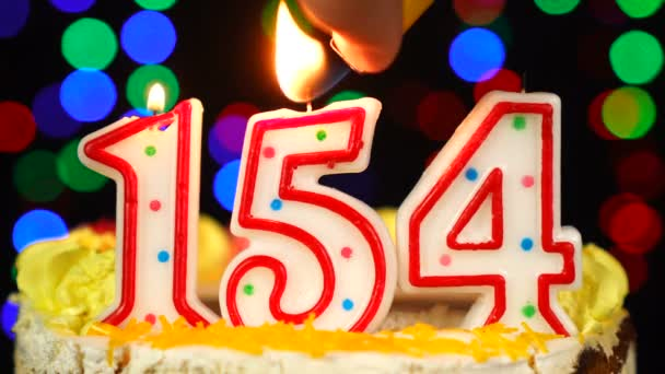 Number 154 Happy Birthday Cake With Burning Candles Topper.