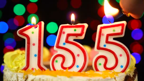 Number 155 Happy Birthday Cake With Burning Candles Topper.