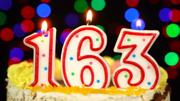 Number 163 Happy Birthday Cake With Burning Candles Topper.